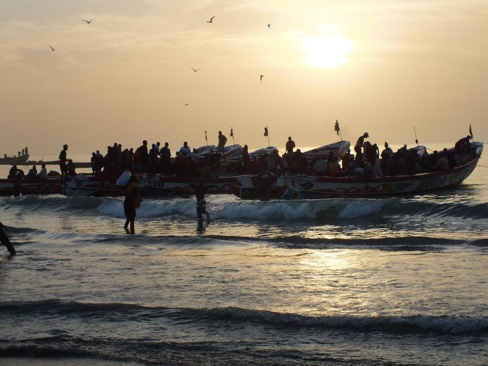 De vissersbootjes komen binnen