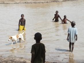 Gambia kinderen spelend in een meertje