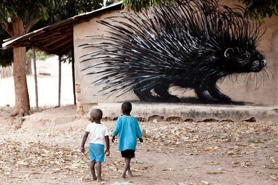 Muurschilderingen in Gambia